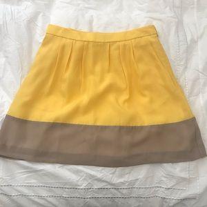 Yellow j crew a line silk skirt